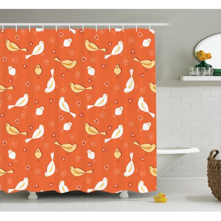 Orange Shower Curtain Set Birds With Heart Shapes And Swirling Patterns On Burnt Vintage