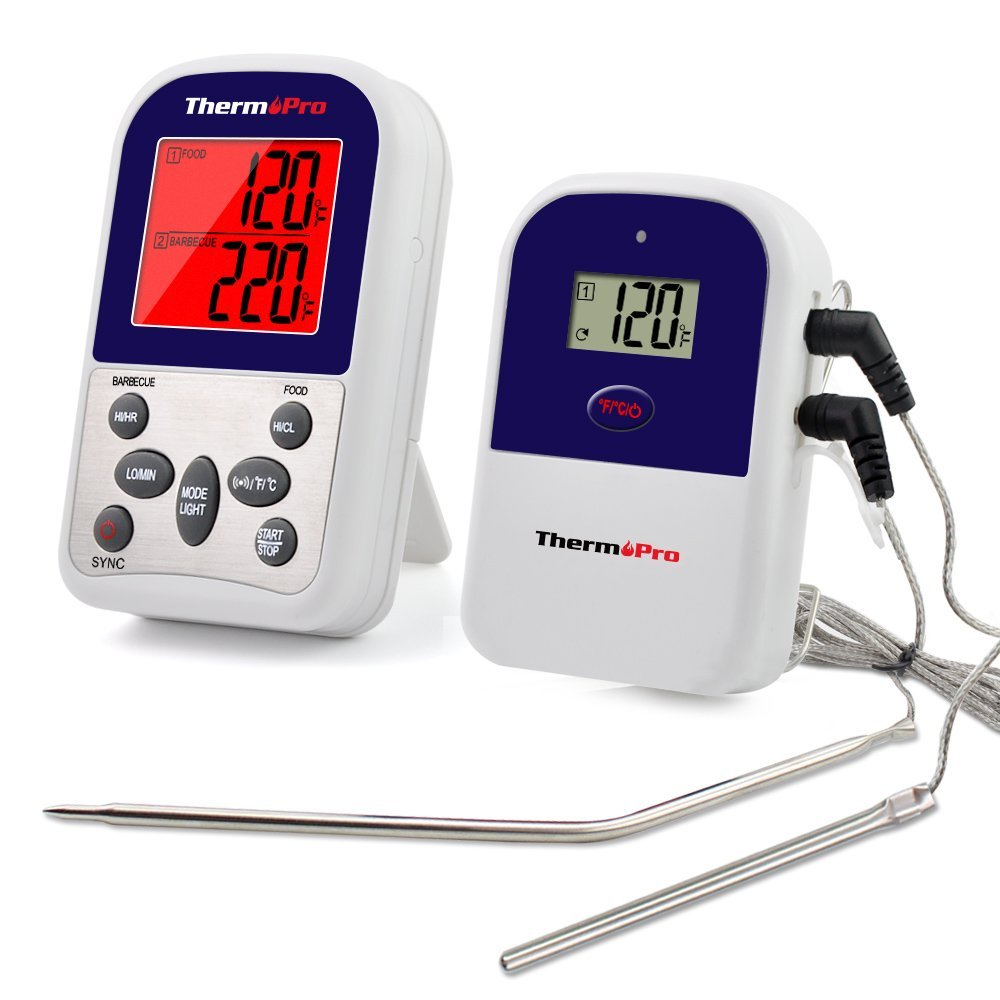 ThermoPro TP12 Digital Wireless Remote Kitchen Cooking Food Meat Thermometer with Timer, 300 Feet Range - Dual Probe for BBQ Smoker Grill Oven
