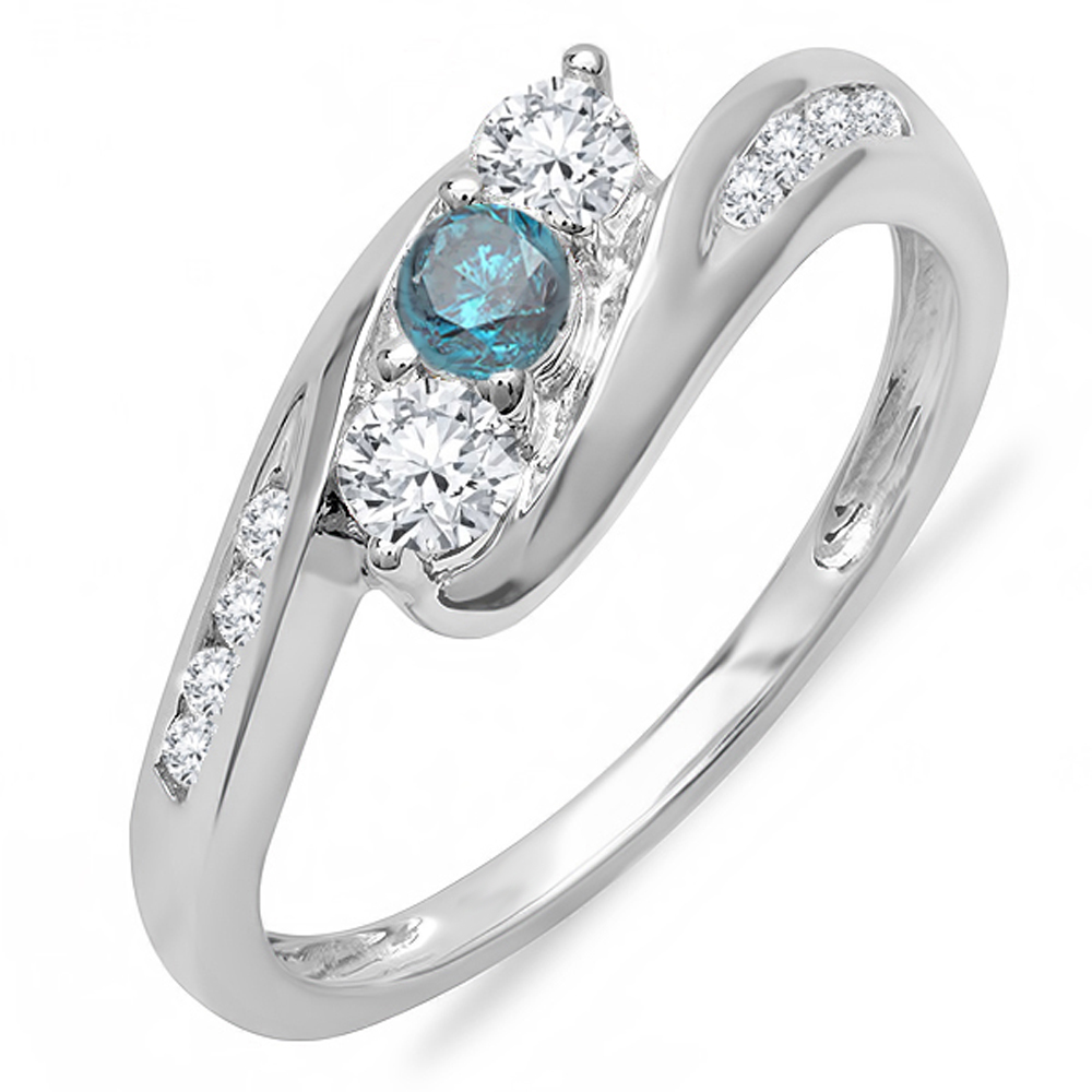 0.50 Carat (ctw) 18k White Gold Round White And Blue Diamond Swirl Engagement 3 Stone Bridal Ring 1/2 CT