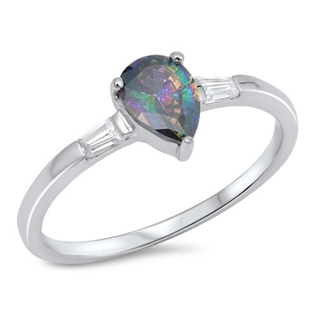 CHOOSE YOUR COLOR Teardrop Rainbow Simulated Topaz Solitaire Ring New 925 Sterling Silver Band (Rainbow Simulated Topaz/Ring Size 7) ()