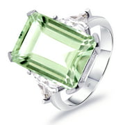 Orchid Jewelry Green Amethyst, White Topaz Sterling Silver Halo Ring For Women Anniversary Gift
