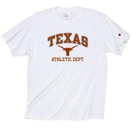 (Texas Longhorns T-shirt - Texas Arched Over Longhorns Logo Athletic Dept. - By - White)