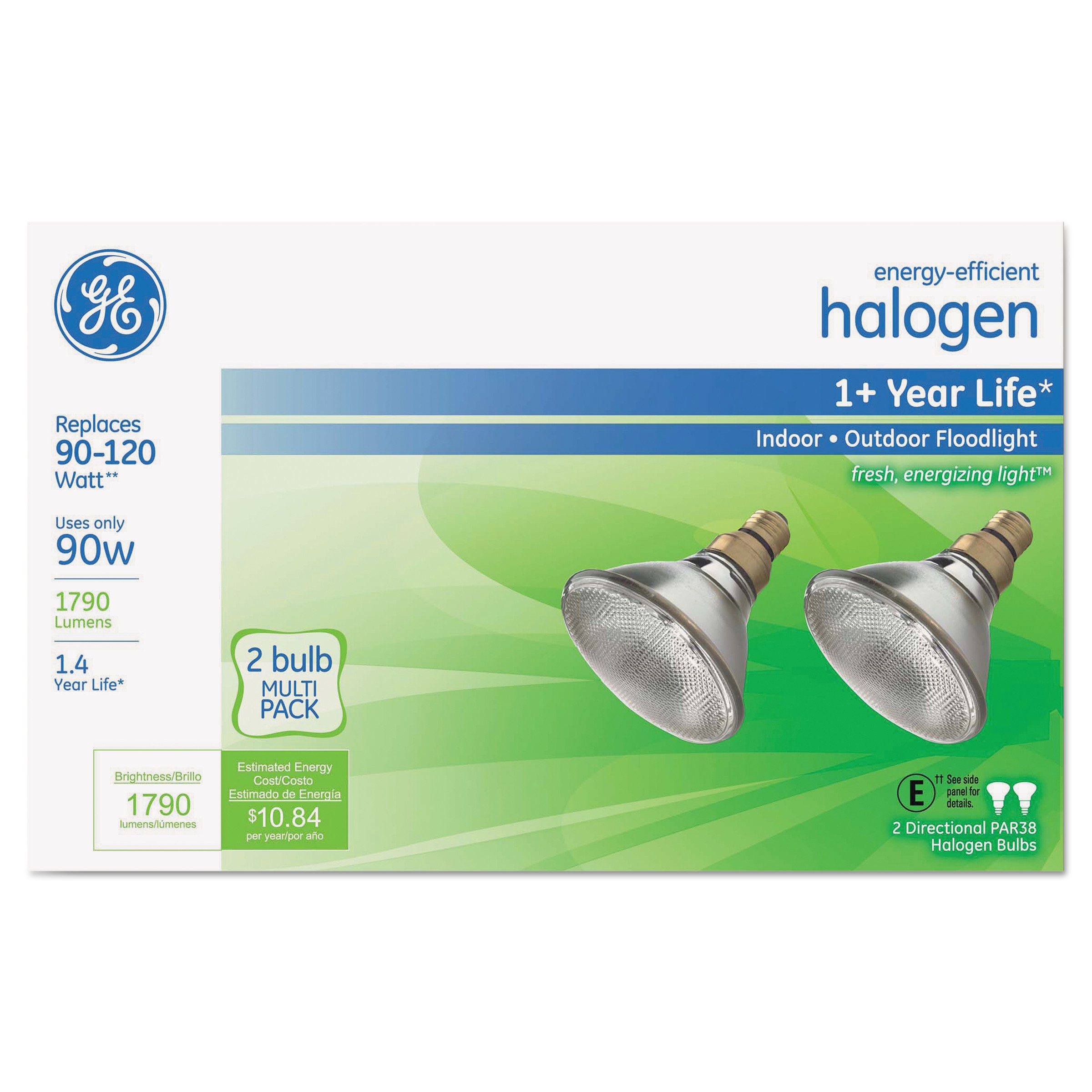 GE 90W PAR38 Halogen Outdoor Floodlight, 2-pack