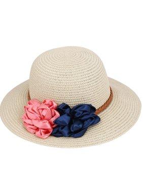 Lady Women Vacation Summer Beach Sun Floppy Wide Brim Floral Straw Hat Beige