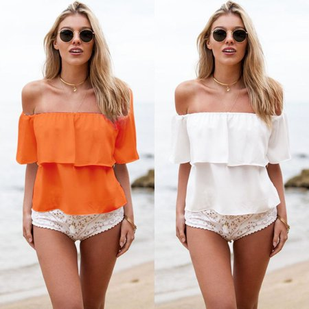 Women Off Shoulder Ruffled Low Back Peasant Short Sleeve Blouse Shirt Crop Top](Renaissance Peasant Blouse)