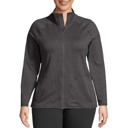 Just My Size Women's Plus Size Active Full Zip Mock Neck Jacket Marker Active Zip