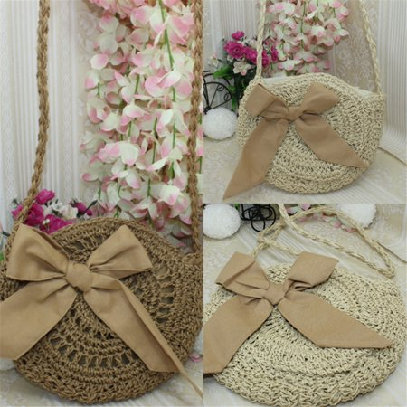 Women Straw Bags Retro Rattan Handbag Woven, Womens Beach Bags Shoulder Bags Round Tote