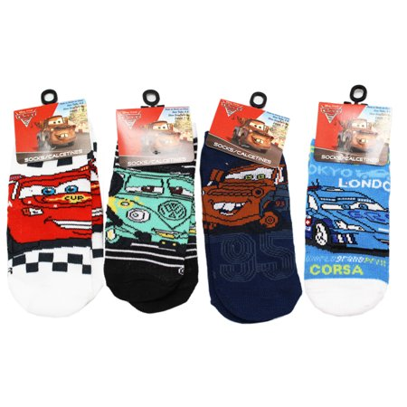 Disney Pixar's Cars Assorted Character Sock Collection (3 Pairs, Size 4-6)
