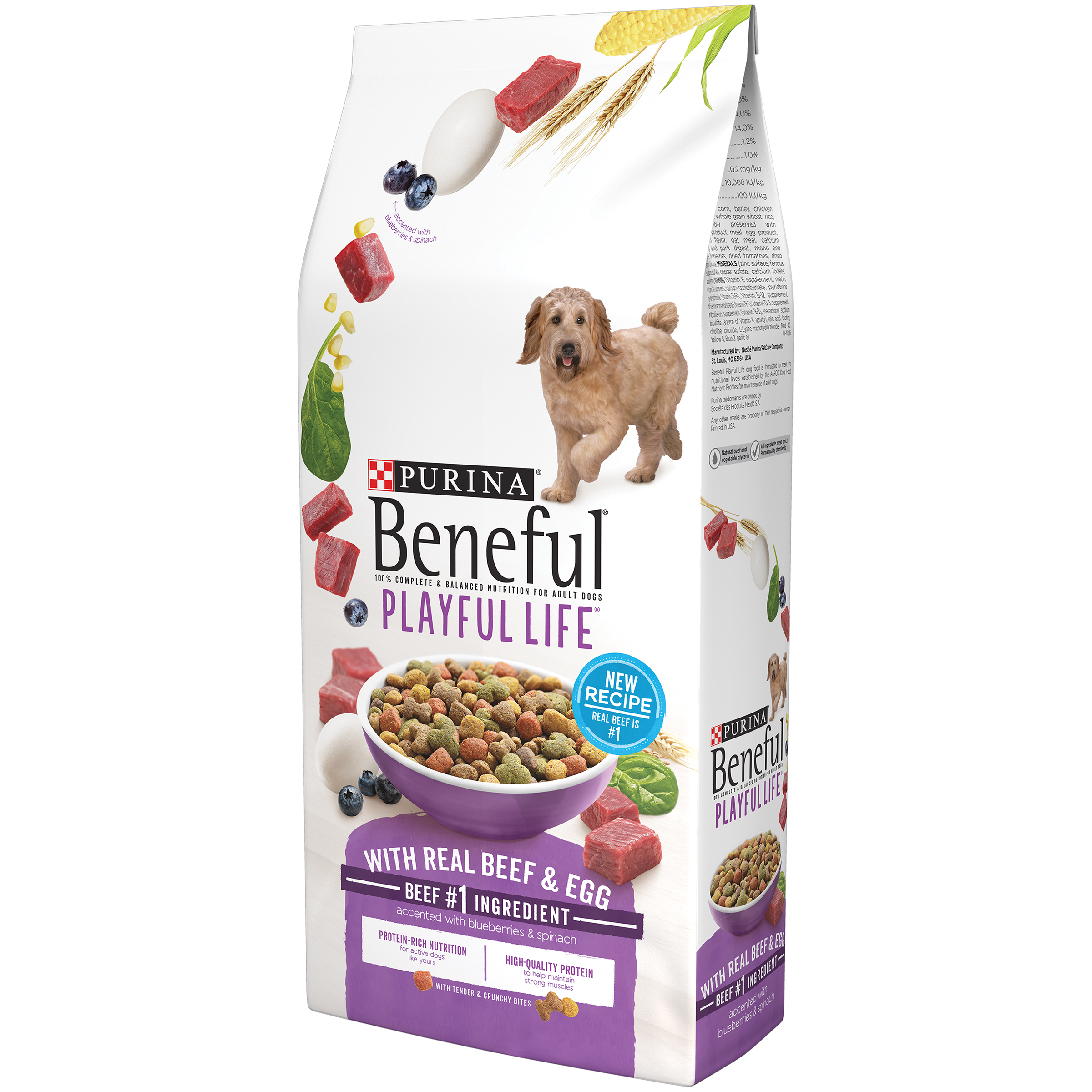 Purina Beneful Playful Life With Real Beef & Egg Dry Dog Food - 15.5 lb. Bag