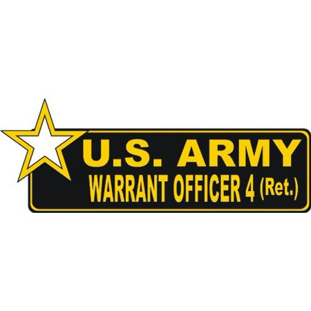 United States Army Retired Warrant Officer 4 Bumper Sticker Decal 6