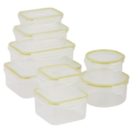 Honey Can Do 16-Piece Locking Food Container Set, Clear Camwear Clear Food Storage Pan