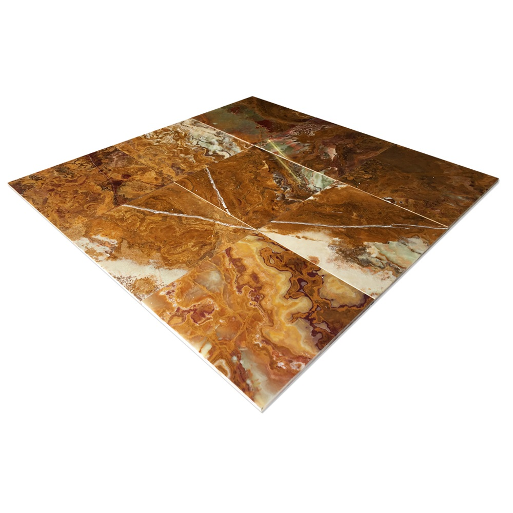 "Multi-Brown Onyx Tile 12"" X 12"""