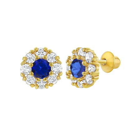 18k Gold Plated Round Flower Crystal Baby Kids Screw Back Earrings