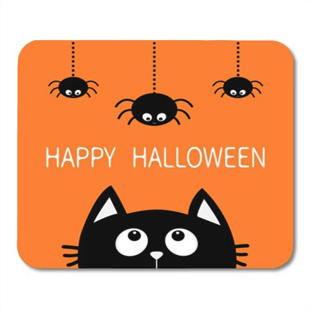 KDAGR Happy Halloween Black Cat Face Head Silhouette Looking Up Mousepad Mouse Pad Mouse Mat 9x10 inch - Silhouette Cat Halloween