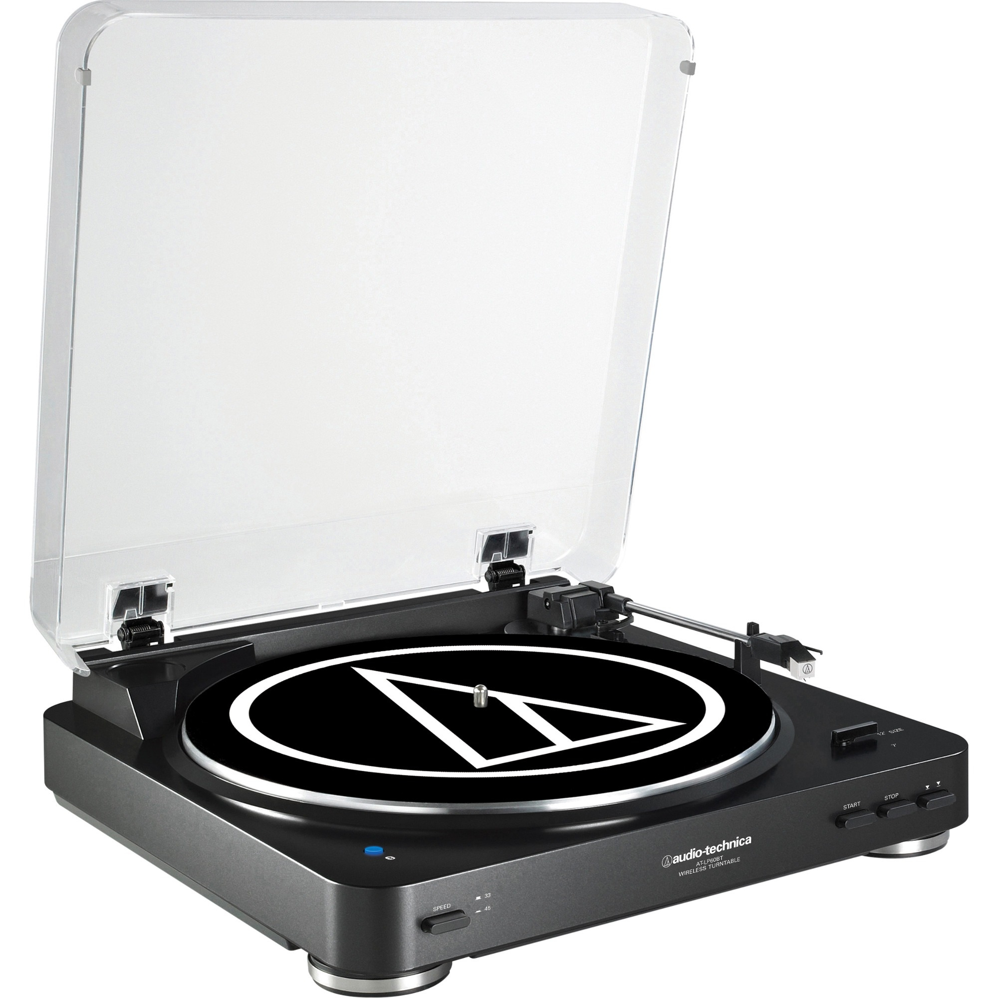 Audio-technica Fully Automatic Wireless Belt-drive Stereo Turntable - Belt Drive - Automatic - 33.33, 45 Rpm - Black (at-lp60bk-bt)