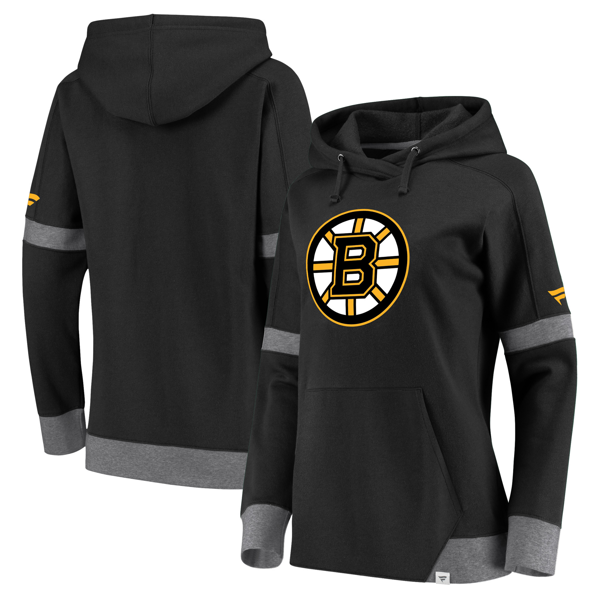 Boston Bruins Fanatics Branded Women's Iconic Pullover Hoodie - Black/Heathered Gray