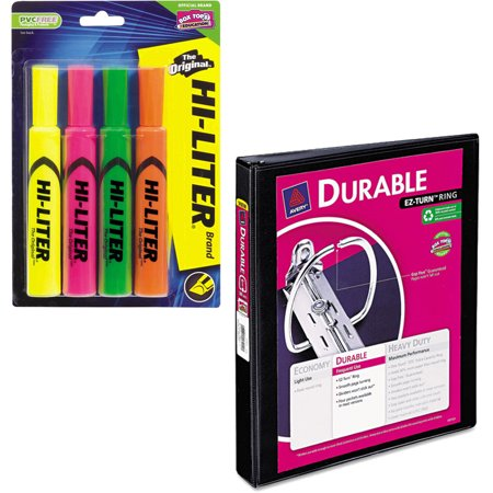 Vinyl Reference Binders (Avery Desk Style Hi-Liter, Assorted Colors, 4 pack and Avery Durable Reference Vinyl EZ-Turn Ring View Binder, 1