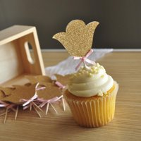 Garden Party Decorations. Ships in 1-3 Business Days. Flower Cupcake Toppers. 12 CT.