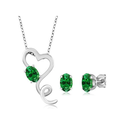 3.20 Ct Simulated Emerald 925 Sterling Silver Heart Pendant Earrings Set 18
