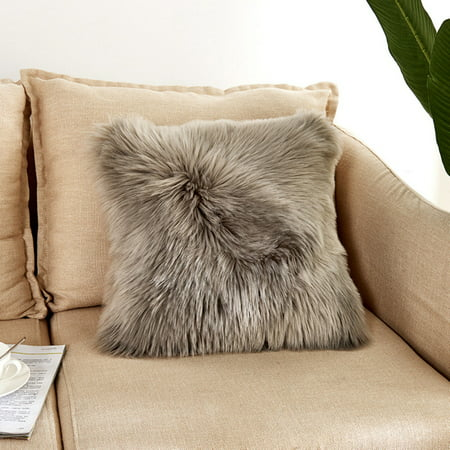 Nordic Style Living Room Sofa Pillow Plush Furry Cushion Cover Throw Pillow Case Home Bed Room Sofa Decor ()