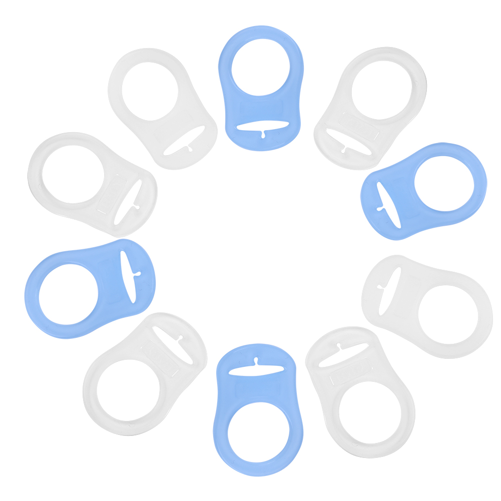 Dilwe 10Pcs Multi Silicone Clear Baby Dummy Buttons Style Pacifier Holder Clip Adapter for Rings,Pacifier Clips Adapter, Baby Pacifier Holder
