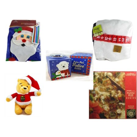 "Christmas Fun Gift Bundle [5 Piece] -  Time  Windsock Santa - Splendid! By Nygala 40"" Snowman Candy Cane Countdown - Polar Pals Votive Holder - Dan Dee Winnie The Pooh Santa   7""  - Springbok Keepsa"