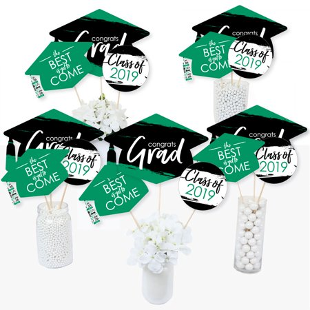 Green Grad - Best is Yet to Come - 2019 Green Graduation Party Centerpiece Sticks - Table Toppers - Set of 15