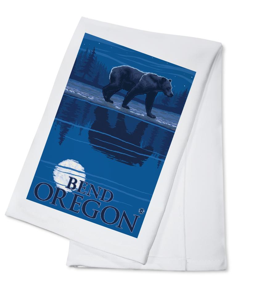 Bend, Oregon Bear in Moonlight Lantern Press Artwork (100% Cotton Kitchen Towel) by Lantern Press