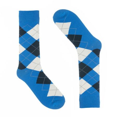 Soft Cotton Argyle Socks - Ivory + Mason - Argyle Dress Socks for Men - Blue - Cotton - Size 8-13 (One Pair)
