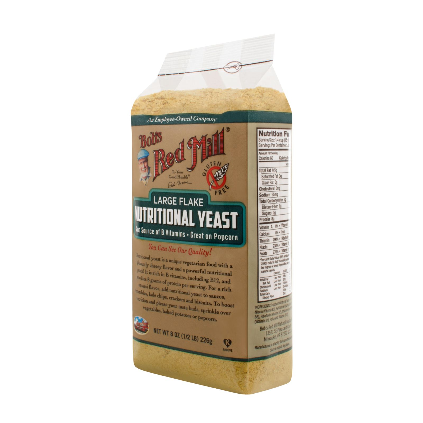 Bob's Red Mill Gluten Free Large Flake Nutritional Yeast 8 oz Case of 4 by
