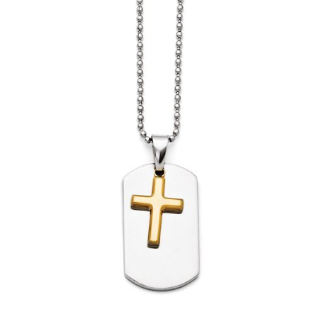 Stainless steel polished dog tag yellow ip plated brushed cross stainless steel polished dog tag yellow ip plated brushed cross necklace aloadofball Gallery