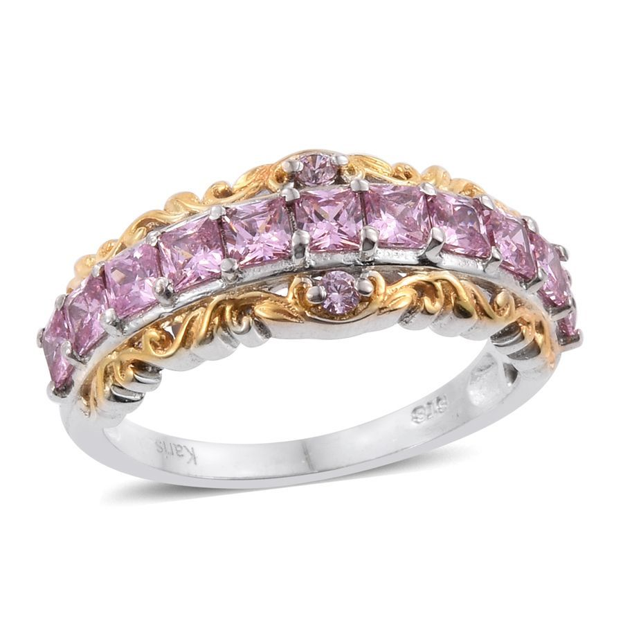 Pink Cubic Zirconia ION Plated 18K Yellow Gold and Platinum plated Brass Ring 1.8 cttw by Shop LC