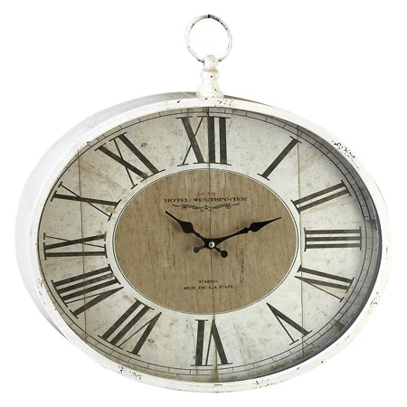 Decmode - Large White Roman Numeral Wall Clock with Finial, 18
