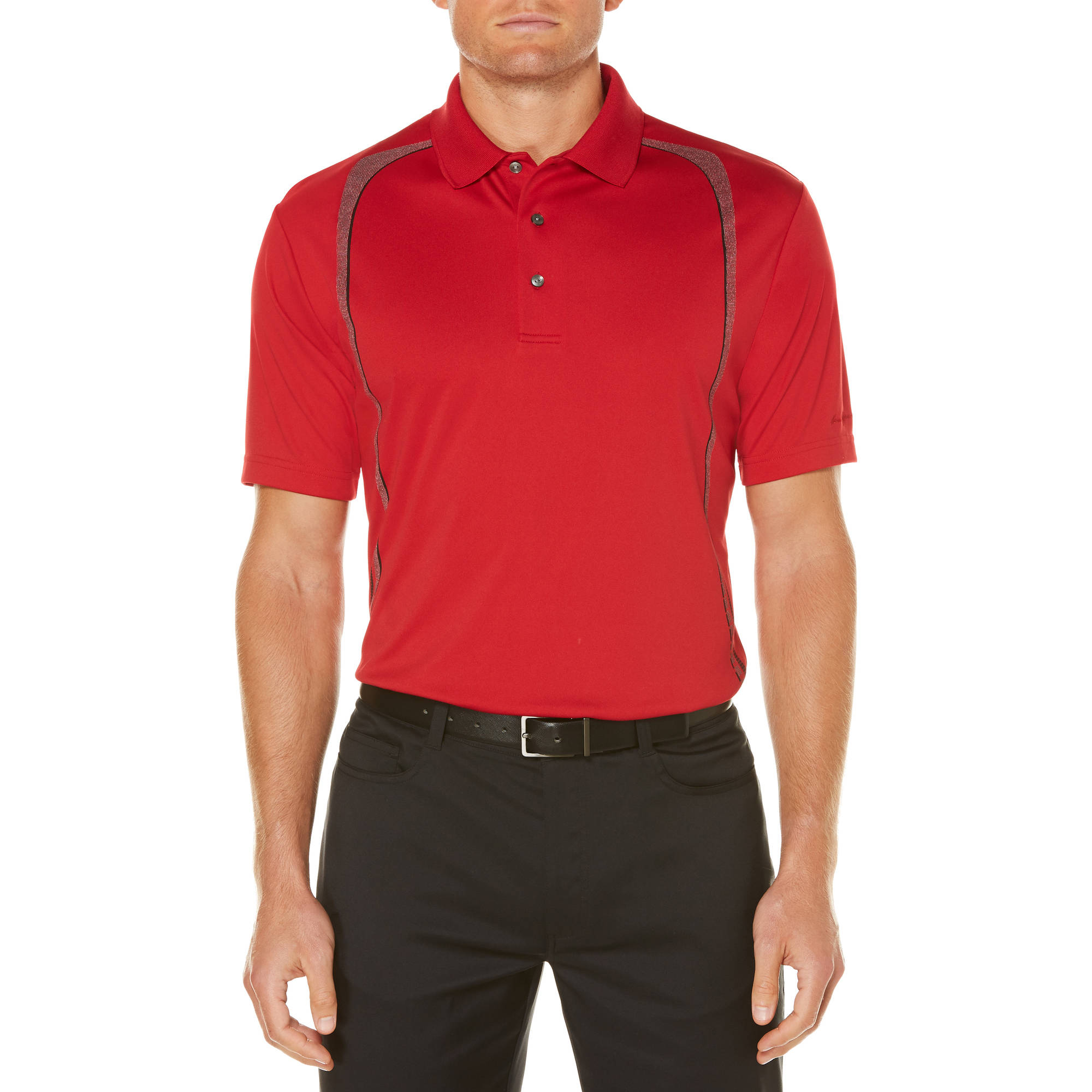Big Men's Performance Short Sleeve Paper Texture Printed Stripe Golf Polo by