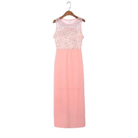 Womens Ballgown Long Dress Chiffon Evening Party Formal Bridesmaid Prom Ball Gowns Dress Sleeveless (Super Bowl Party Dress)