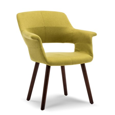 BELLEZE Dining Chair Accent Mid-Century Linen Armrest Padded w/ Wooden Legs ()
