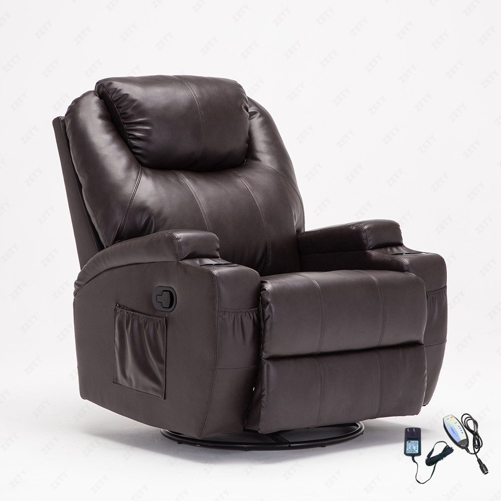 Uenjoy Leather Massage Recliner Chair 360 Degree Swivel Living Room Chair  Heated W/C Part 90