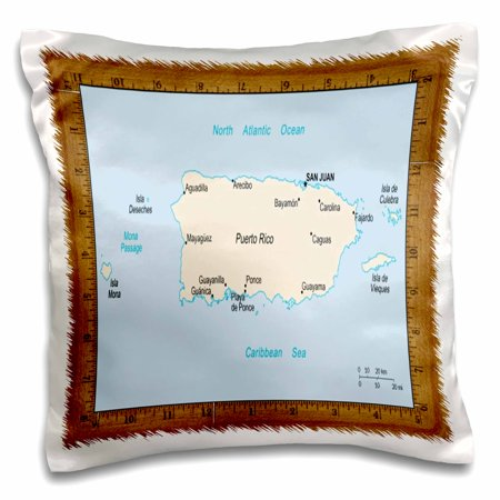 3dRose Map Of Puerto Rico - Pillow Case, 16 by (Printable Map Of Puerto Rico For Kids)