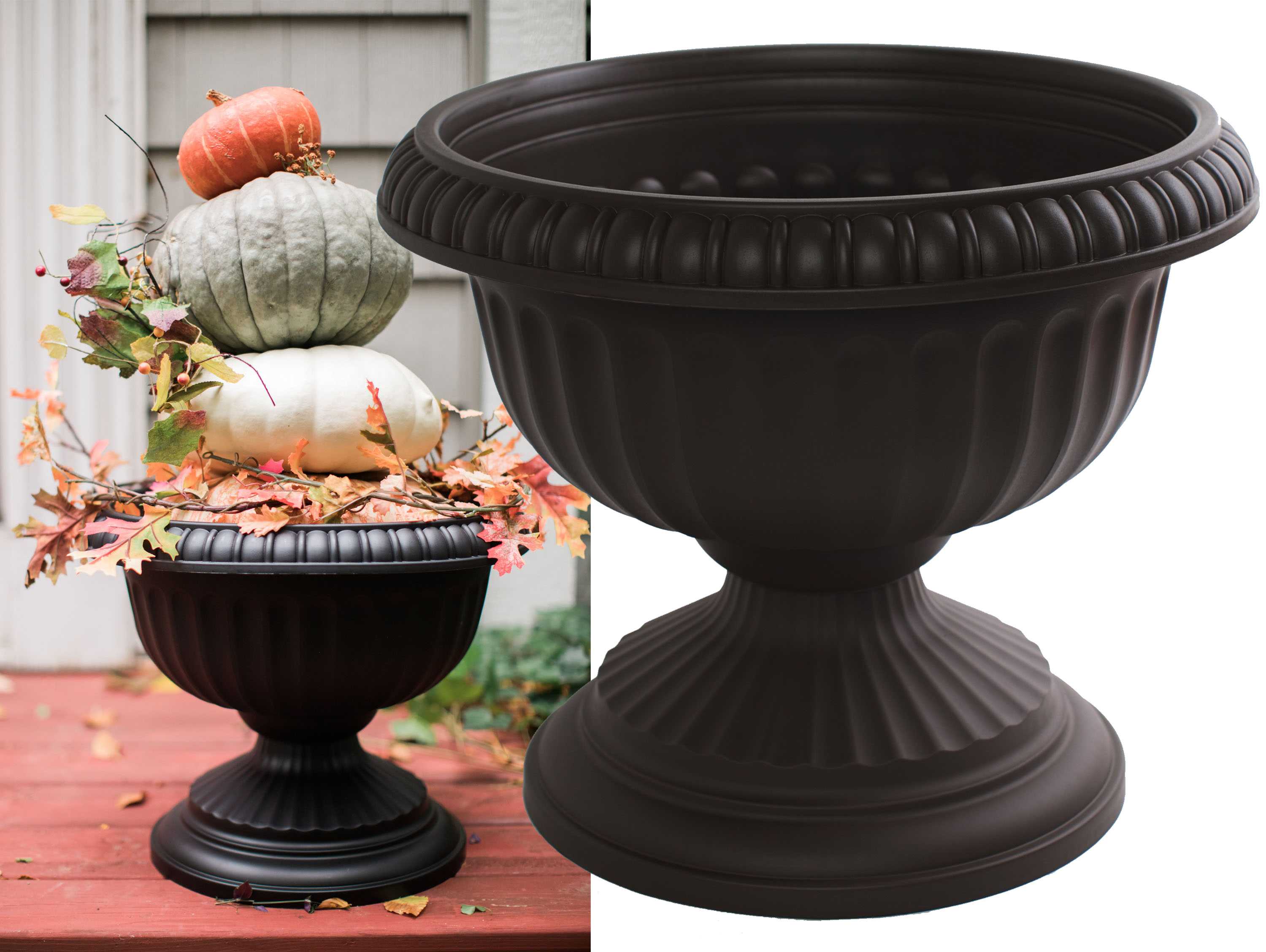 "Bloem Grecian Urn Planter 18"" Black by Urns"