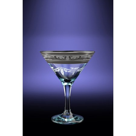 Stemmed Cocktail (Crystal Goose GX-09-410, 5.7 oz Cocktail Martini Glasses with Platinum-Plated Rim, Long Stem Cocktail Glasses with Platinum Sputtering, 6 Piece Set)