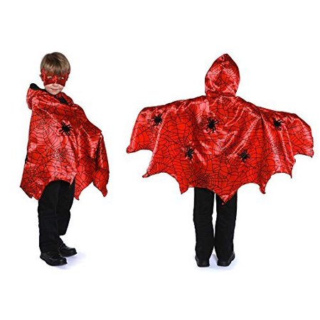 Great Pretenders Boys Hooded Spider Cape Costume Accessory (Red, (Trim Hooded Cape)