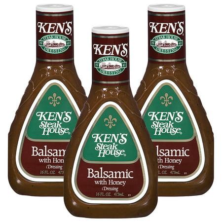 (3 Pack) Ken's Steakhouse Dressing, Balsamic with Honey, 16 Fl Oz