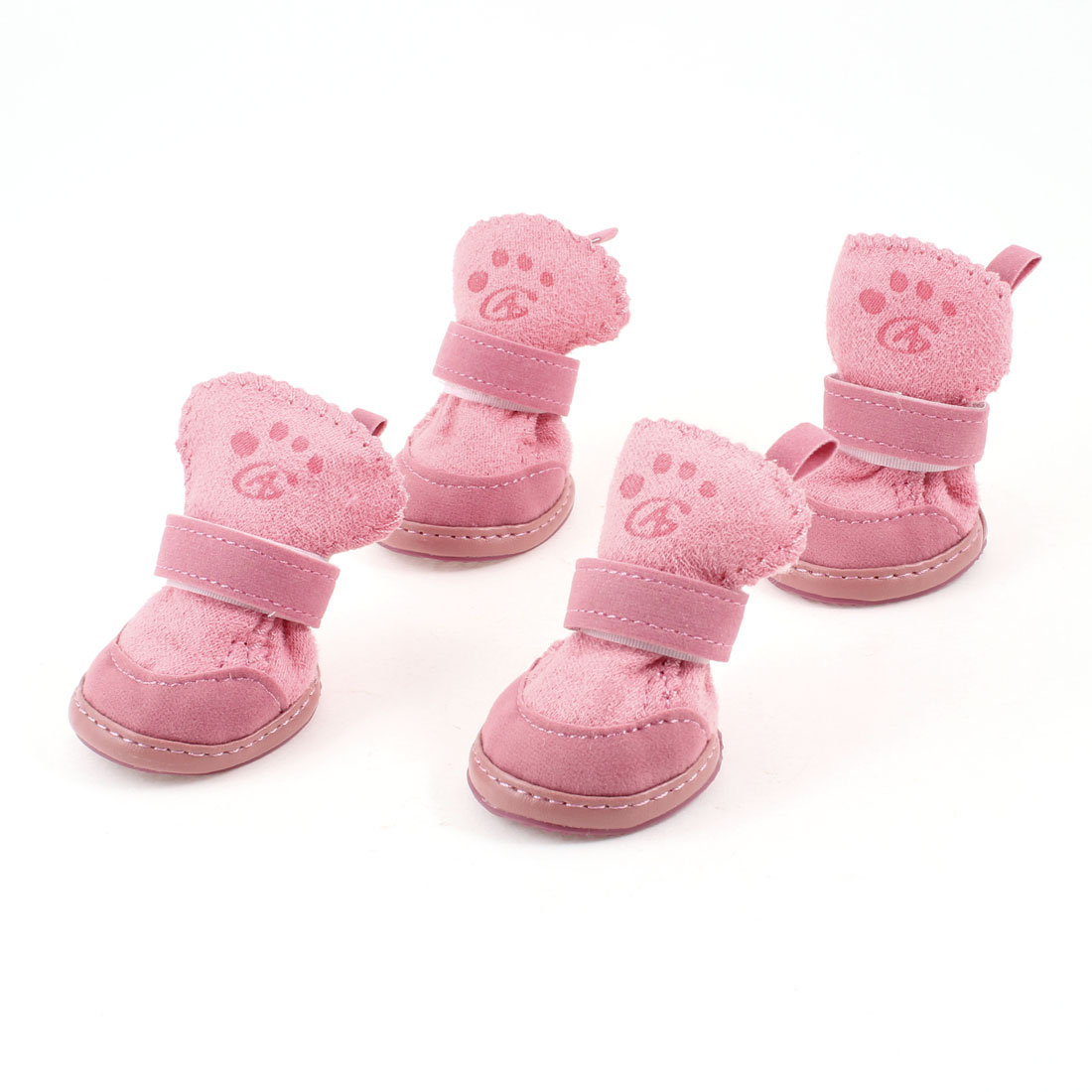 Pink Hook and Loop Fastener Booties Pet Dog Chihuahua Shoes Boots 2 Pair S