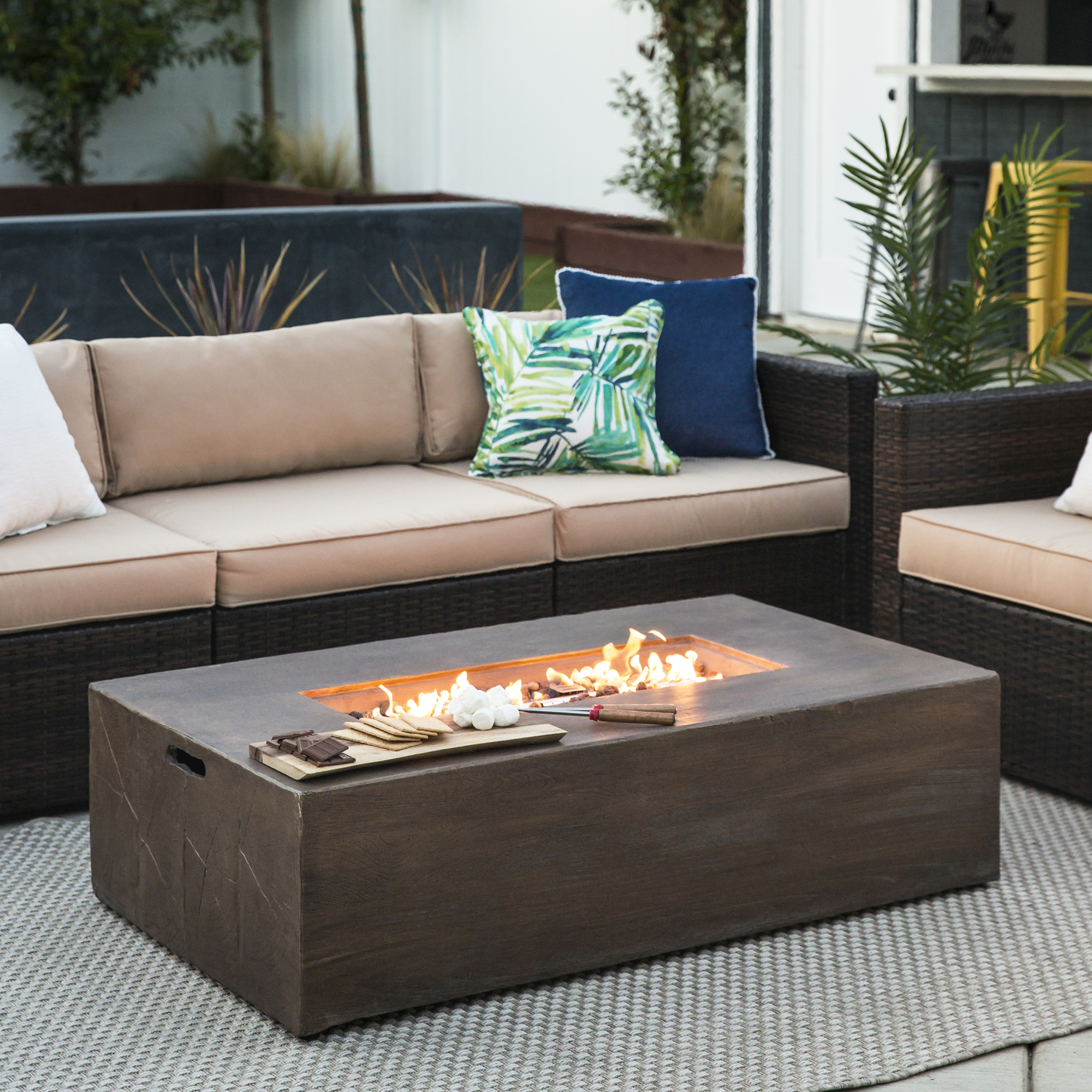 Best Choice Products 48in 50,000 BTU Outdoor Rectangular Modern Wood Finish Propane... by Best Choice Products