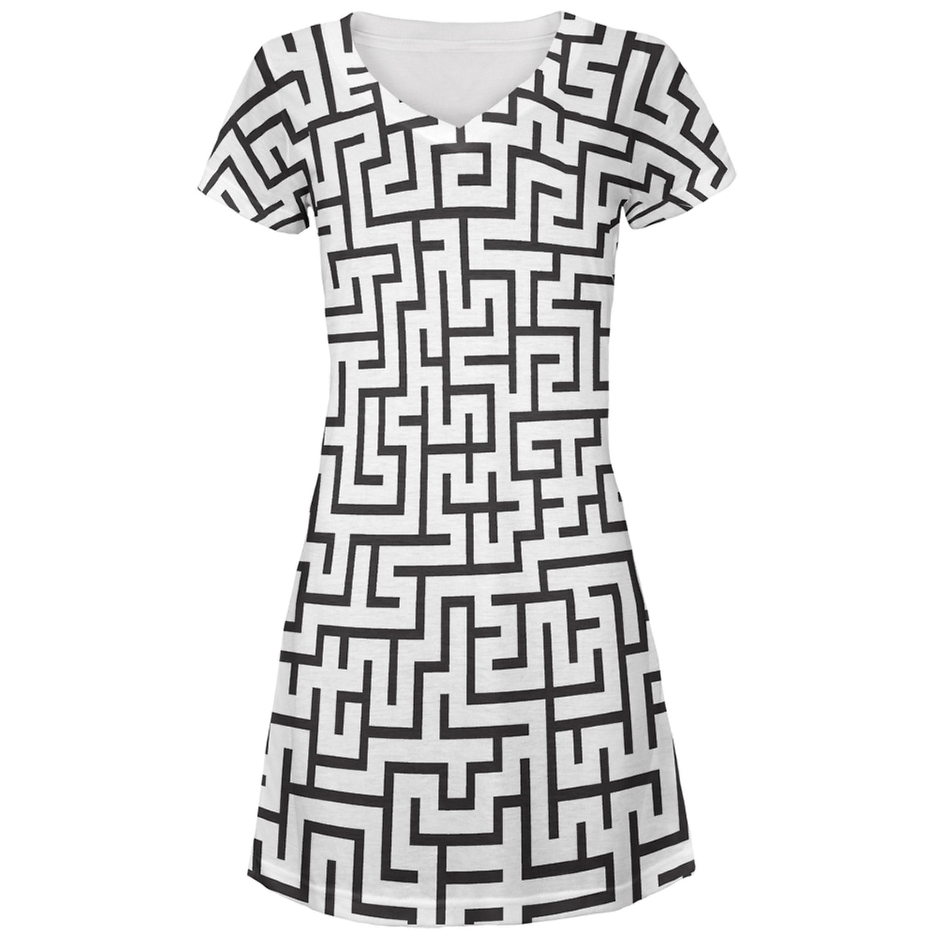 Maze All Over Juniors V-Neck Dress