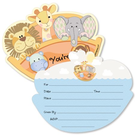 Noahs Ark Baby Shower Tea - Noah's Ark - Shaped Fill-In Invitations - Baby Shower Invitation Cards with Envelopes - Set of 12