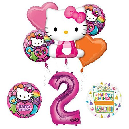 Hello Kitty 2nd Birthday Party Supplies and Balloon Bouquet Decorations](Hello Kitty Birthday Decorations)