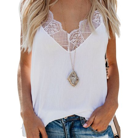 OUMY Women Sleeveless Lace V-Neck Camisole Tank Tops