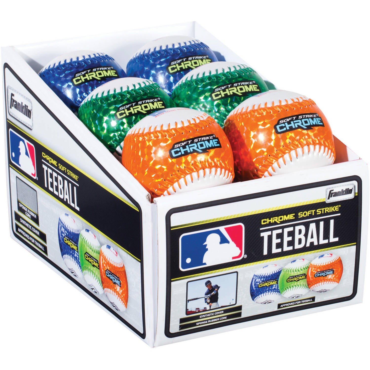 Franklin Sports MLB Soft Strike Metallic Tee Ball, Assorted Colors (1 Ball)