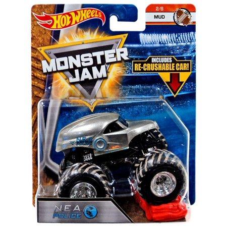 Hot Wheels Monster Jam 25 N.E.A. Police Die-Cast Car - Halloween Monster Mud Run
